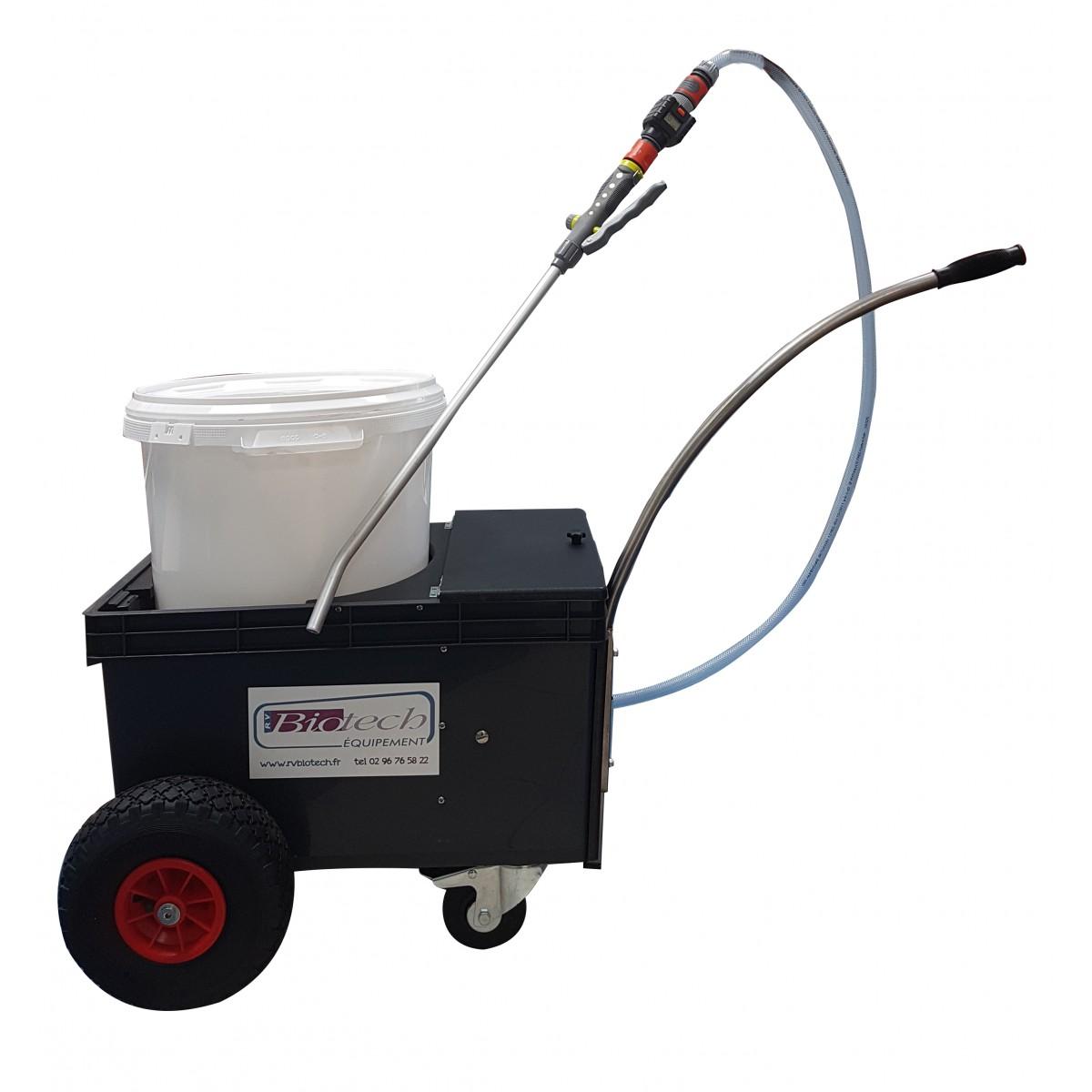 Le DISTRILIQ Jr. est un chariot de distribution de lait. RV BIOTECH